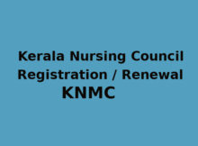 KNMC (Kerala Nursing Council) Registration / Renewal Application