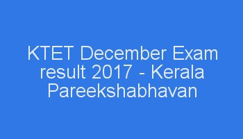 Kerala KTET Exam result