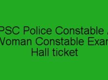 PSC Police Constable Exam Hall Ticket