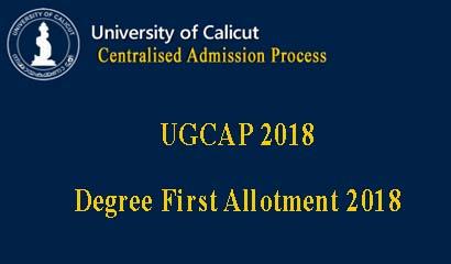 Calicut University Degree First allotment 2018