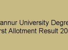 Kannur University Degree First Allotment result 2018
