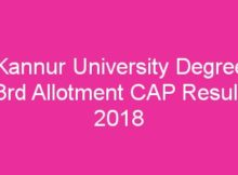 Kannur University Degree Third Allotment Result 2018