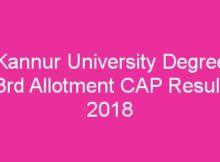 Kannur University Degree Third Allotment Result 2018