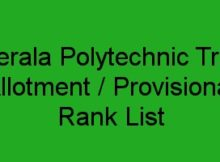 Polytechnic trial Allotment and Provisional Ranklist