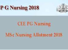 MSc Nursing Allotment 2018