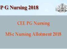MSc Nursing Allotment 2018