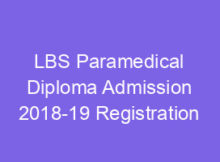 LBS Paramedical/Dpharm Admission 2018 Application