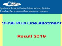 VHSE Plus One Allotment result 2019