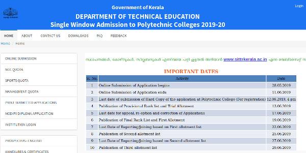 Kerala Polytechnic Trial Allotment and Raklist 2019