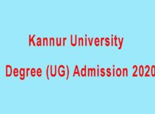 Kannur University Degree UG Admission 2020