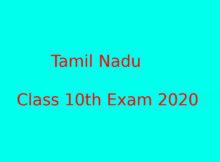 Tamil Nadu CLass 10th Exam 2020