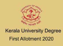 Kerala University Degree First Allotment Result 2020