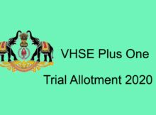 VHSE Plus One (+1) Trial Allotment Result 2020