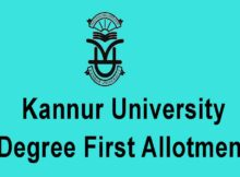 Kannur University Degree First Allotment 2020