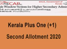 Kerala Plus One Second Alloment 2020