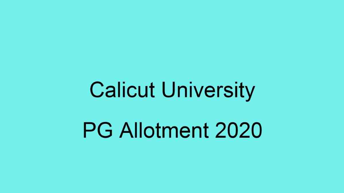 Calicut University PG 2020