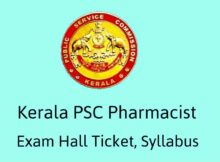 Kerala PSC Pharmacist Exam Hall Ticket