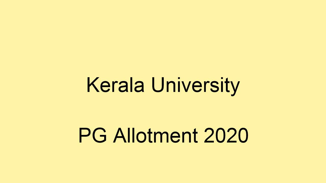 Kerala University PG Allotment Result 2020