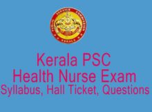 PSC Junior Health Nurse Exam Hall Ticket Download/ Syllabus
